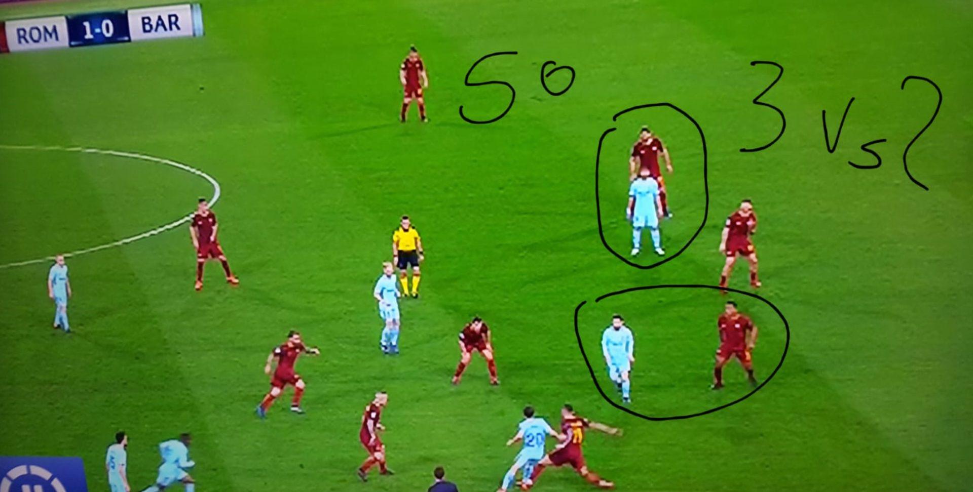 Roma Barcellona superiorità numerica