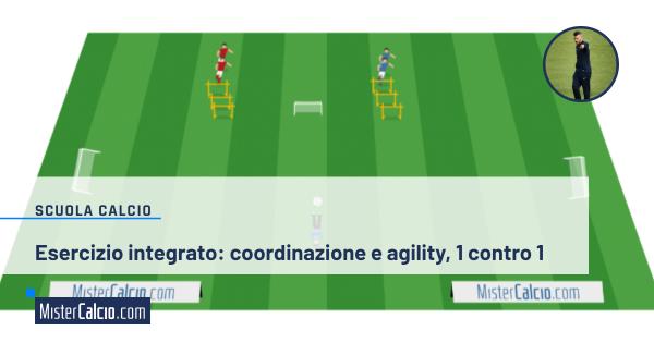 Esercizio integrato calcio: coordinazione e agility 1 contro 1