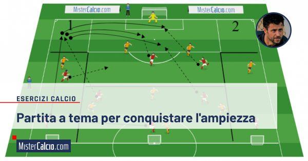 allenare il gioco in ampiezza nel calcio