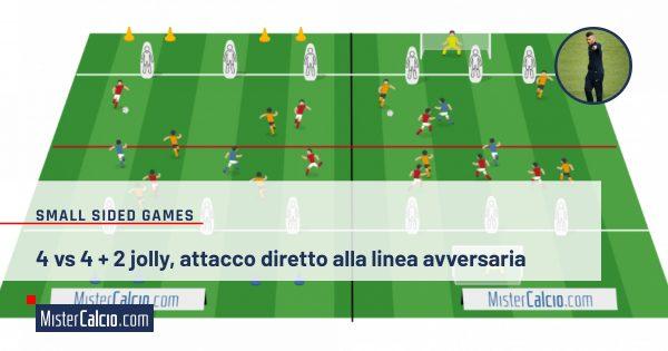 4 vs 4 + 2 jolly attacco diretto alla linea avvers