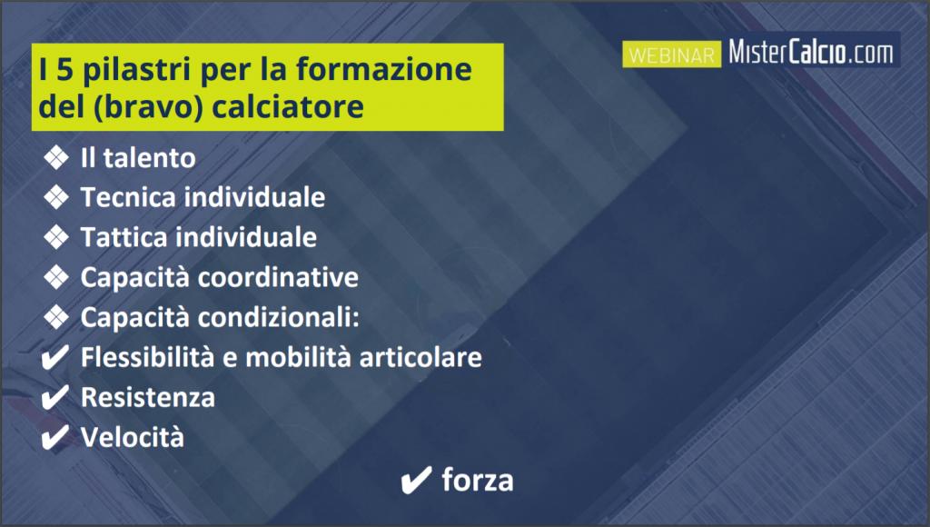 I 5 pilastri per la formazione del calciatore